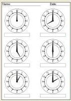 Clock face worksheets